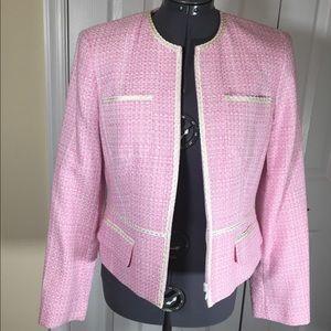 New w tags Bandalino Pink White Boucle Jacket. Sz4